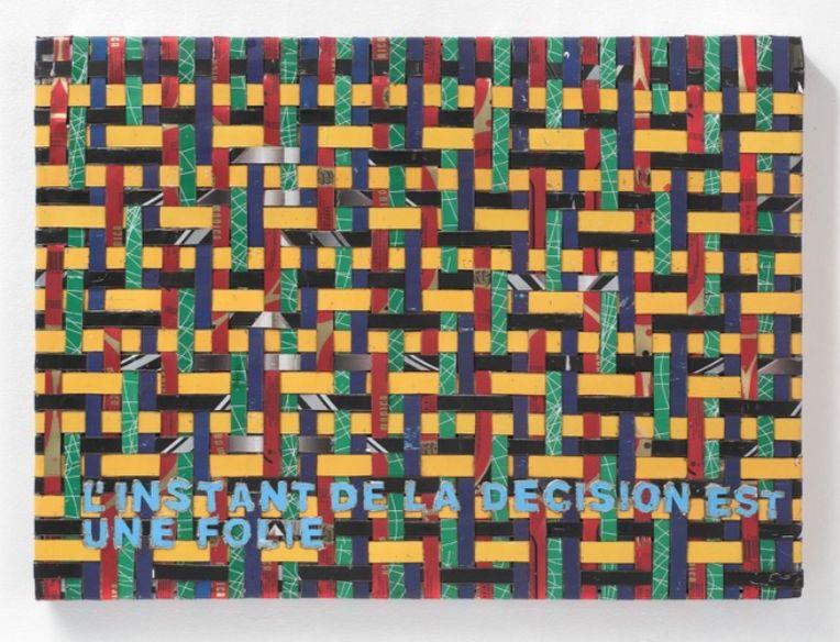 Adel Abdessemed, Cocorico painting, Creole. Vit dans un hamac, 2017-2018, recycled printed metal,, 57 x 42.5 x 3.5 cm, unique
