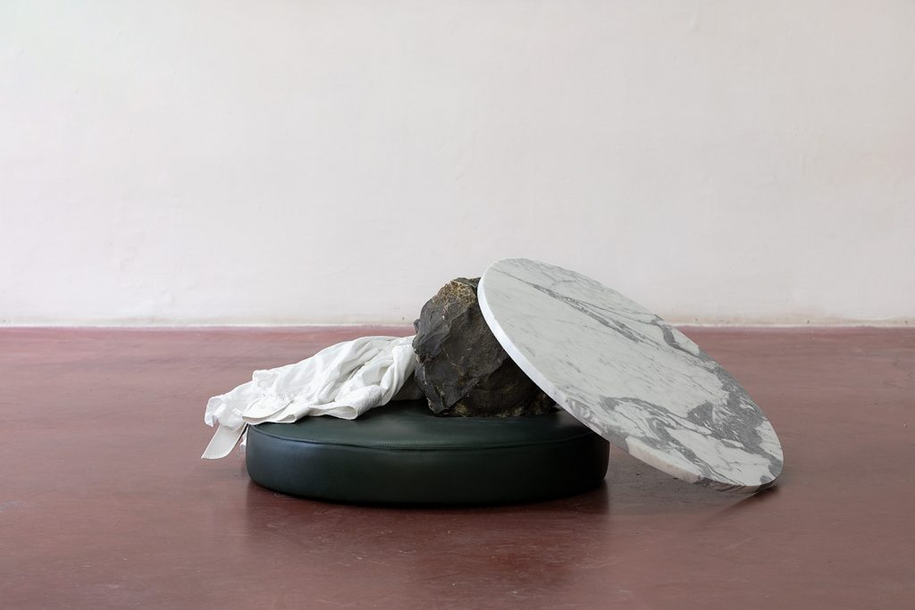 Yan Xing, As The Soldiers Went Home, The Gallery Caught Fire, 2019, 90 x 60 x 37 cm, Stone, marble, leather, shirt from Dvir, unique