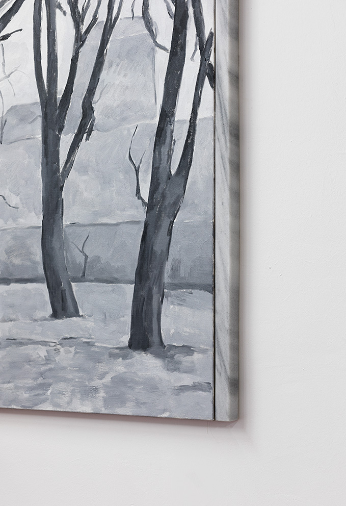 Yan Xing, As The Soldiers Went Home, The Gallery Caught Fire (detail), 2019, 150 x 203.5 cm, Oil on canvas, Marble, unique