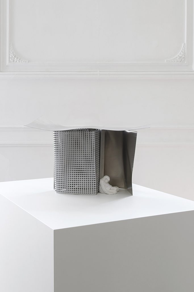 Simon Fujiwara, It's a Small World (Future Gandhi Napping in a Pavilion Designed by Frank Gehry), 2019, clay, cotton, metal, 50 x 25 x 30, unique in a series