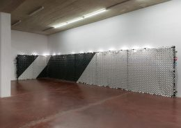 'A Dead Movie', 2020, fence, plastic, toilet paper, gouache, garland lights, variable dimensions, unique
